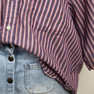 Vintage Tops - Oversized ⚥ Striped Button Up Shirt